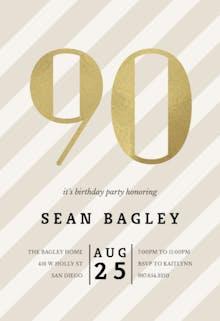 Striped 90 - Birthday Invitation