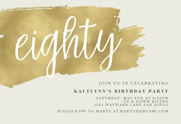 Urban 80 - Birthday Invitation