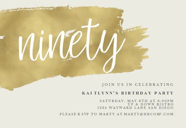 Urban 90 - Birthday Invitation