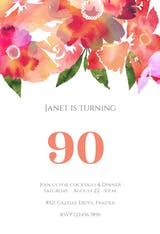 90th Watercolor Classic - Birthday Invitation