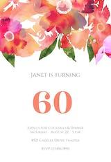 60th Watercolor Classic - Birthday Invitation