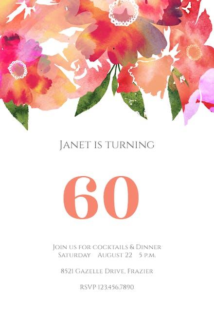 Invitaciones De Cumpleaños Número 60 Gratis Greetings Island