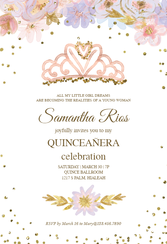 photo relating to Free Printable Quinceanera Invitations identify Quinceañgeneration Invitation Templates (Totally free) Greetings Island