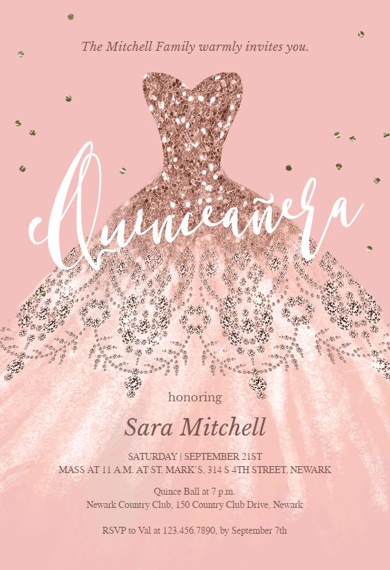 Glitter Dream Dress Quincea 241 Era Invitation Template