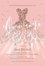 Glitter Dream Dress - Quinceañera Invitation