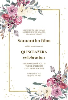 Flowers and golden frame - Birthday Invitation