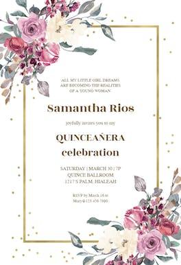 Flowers and golden frame - Birthday Invitation