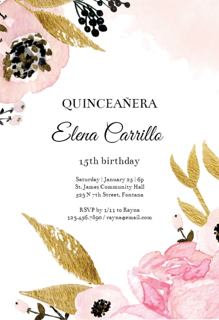Pink And Gold Flowers Quinceanera Invitation Template