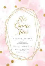 Pink and gold polygon frame - Quinceañera Invitation