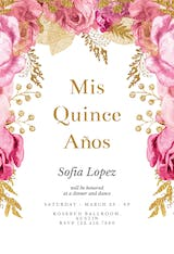Pink and gold roses - Quinceañera Invitation