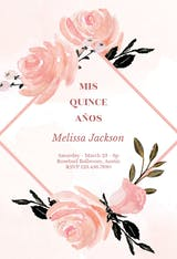 Pink floral frame - Quinceañera Invitation