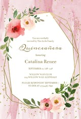 Polygonal frame and blush flowers - Quinceañera Invitation