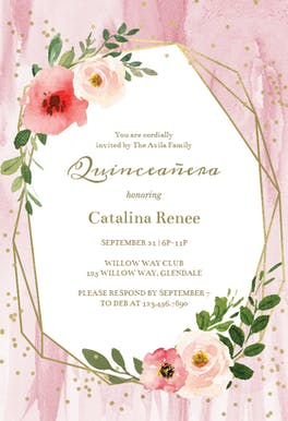 Polygonal frame and blush flowers - Party Invitation