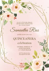 Polygonal frame and flowers - Invitación De Quinceañera