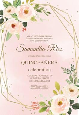 Polygonal frame and flowers - Birthday Invitation
