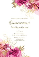Vintage pink and gold roses - Quinceañera Invitation