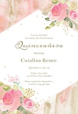 Watercolor pink and gold frame - Quinceañera Invitation
