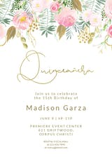 Whimsical  pink and gold flowers - Quinceañera Invitation