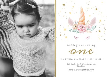 1st floral unicorn photo - Birthday Invitation
