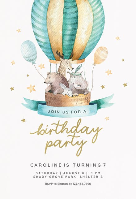 Air balloon Birthday Invitation Template free