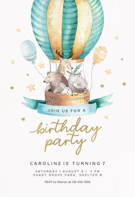 Air Balloon Birthday Invitation Template Free