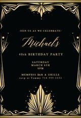 Art deco frame - Birthday Invitation