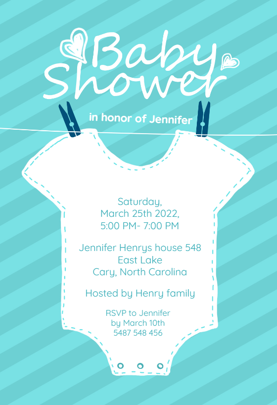 Baby blue stripes free baby shower invitation template for Online baby announcement templates