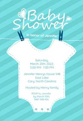 Baby Blue Stripes - Baby Shower Invitation