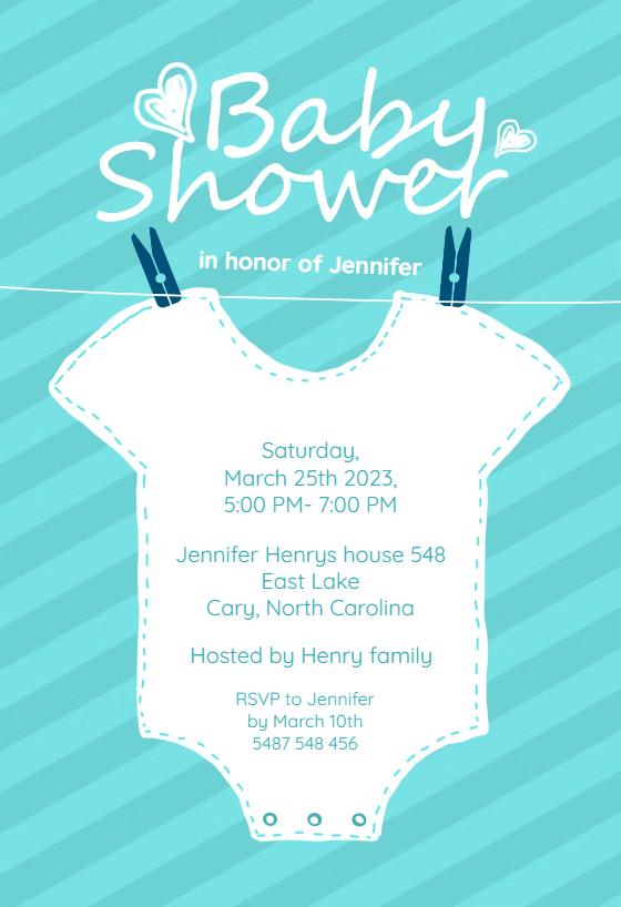Baby Blue Stripes   Baby Shower Invitation