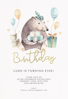 Bear and balloons - Birthday Invitation