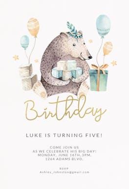 Bear and balloons - Birthday Invitation