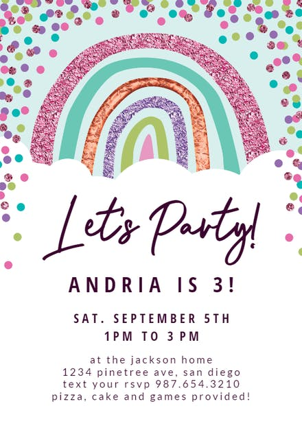 rainbow birthday invitation templates