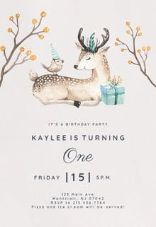 Bird and deer - Birthday Invitation