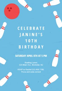 Birthday Bowling - Birthday Invitation
