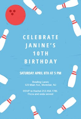 Birthday Bowling - sports & games Invitation