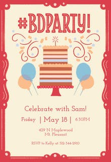Birthday hashtag - Birthday Invitation