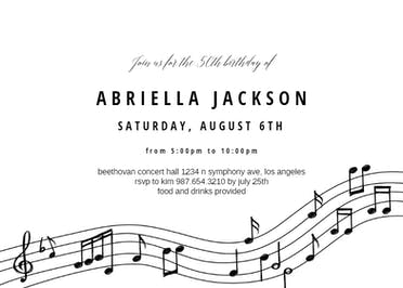 Invitation Template - Black & White Music