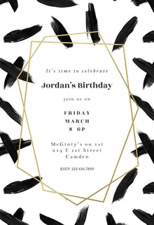 Black brush strokes - Birthday Invitation