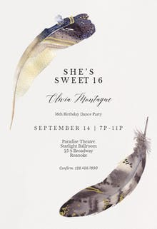 Boho Feathers - Party Invitation