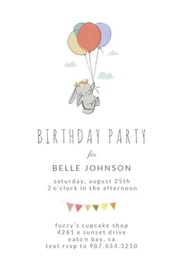 Bunny Balloon - Birthday Invitation
