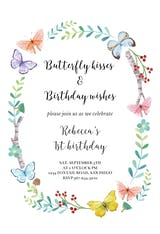 Butterfly wreath - Birthday Invitation