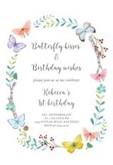 Butterfly wreath - Birthday Invitation