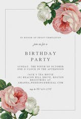 Classic Roses - Birthday Invitation