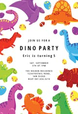 Colorful dinos - Birthday Invitation