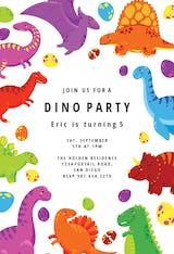 Colorful dinos - Invitación De Cumpleaños