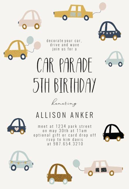 Cute Cars Birthday Invitation Template Free Greetings Island
