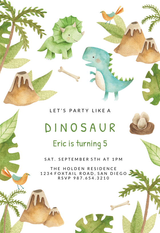 Watercolour Dinosaur Personalised Childrens Birthday Party Invitations
