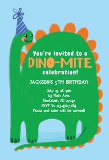 Dino Bday - Birthday Invitation