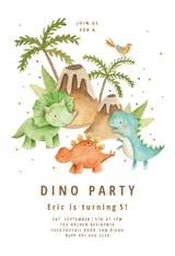 Dinos & volcanos - Birthday Invitation