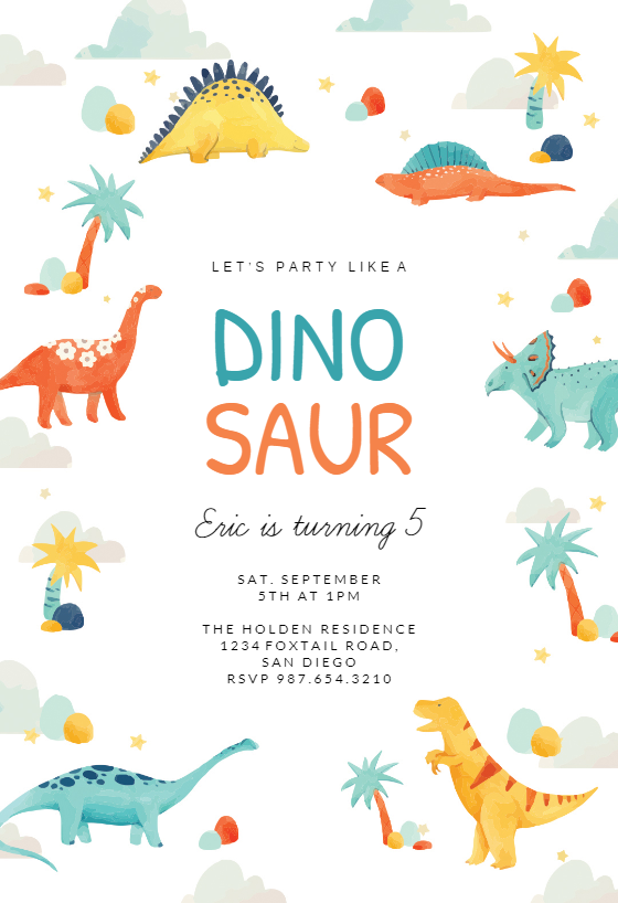 Dinosaur Adventure Birthday Invitation Template Free